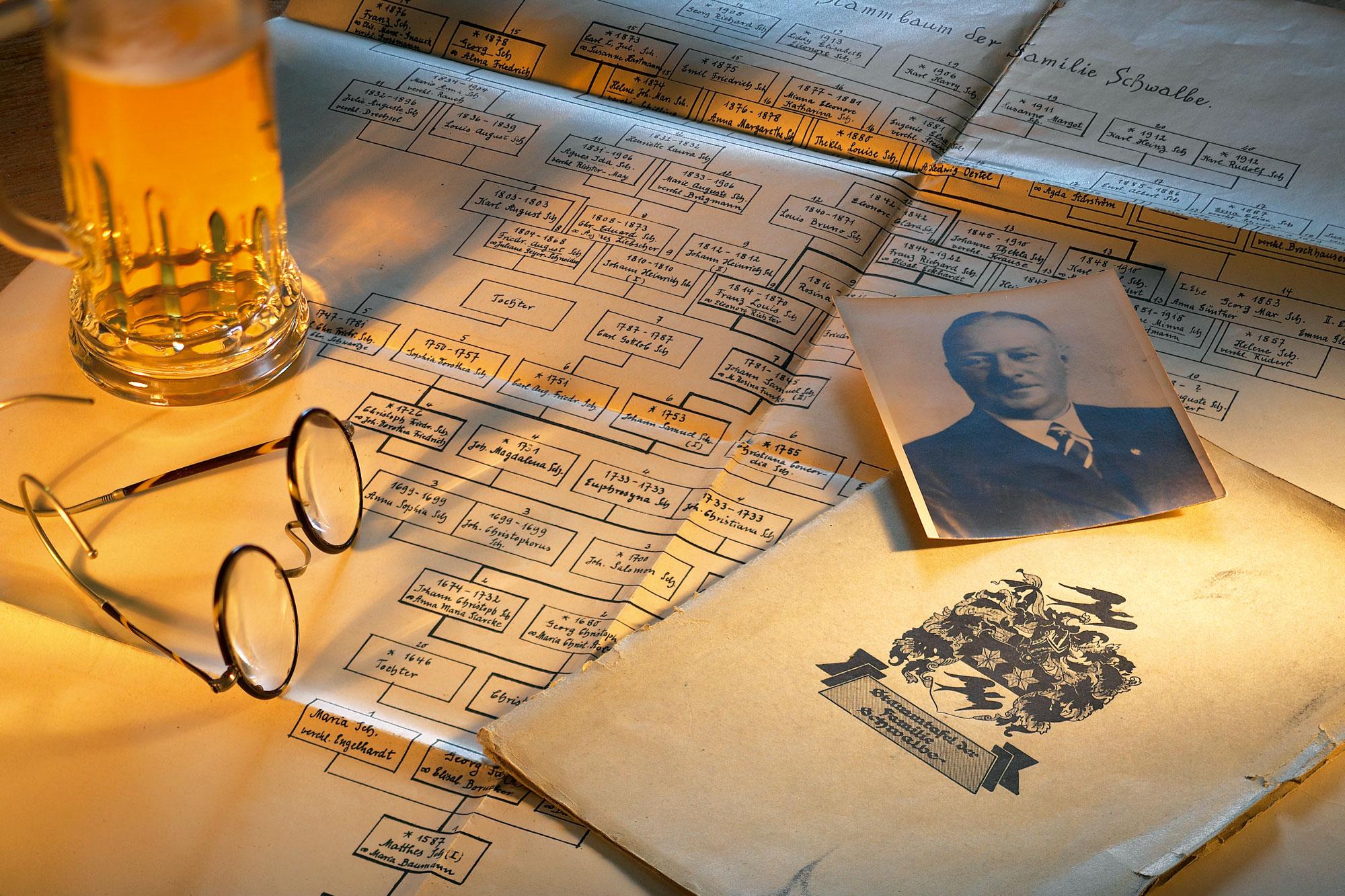 Der Stammbaum des Brauereigründers Emil Schwalbe.